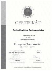 certifikát Evropský arborista